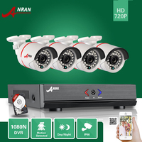 ANRAN Surveillance 4CH HD 1800N AHD DVR 500GB HDD 1800TVL 720P 24IR Outdoor Waterproof Video Security