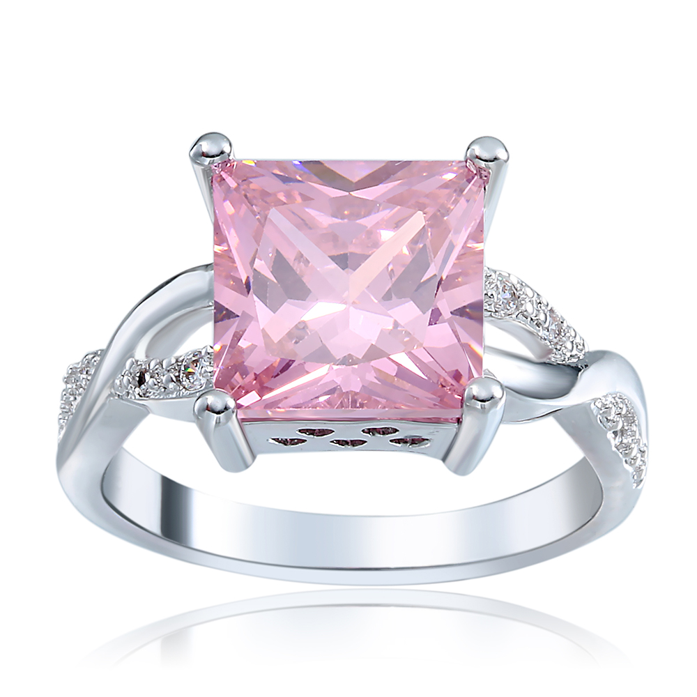 Women Ring Pink Colour Rings Crysta Luxury Gift Shiny Wedding Silver ...