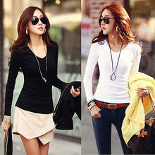 New Sexy Women Basic Plain Round Crew Neck Tee Shirts Stretch Long Sleeve Black Top Hot Sale XXL XL T-Shirts цены