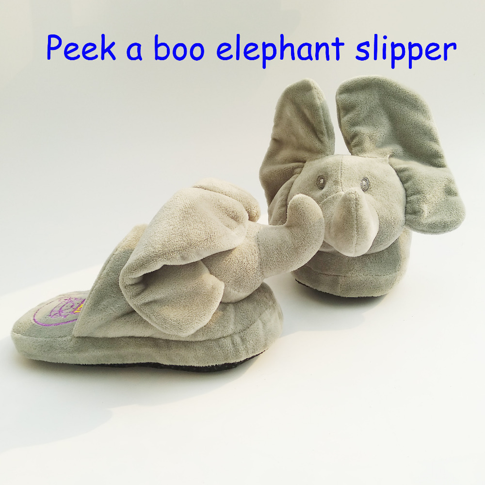 Nuevo Peek A Boo elefante zapatilla juguete y animales de peluche elefante casa zapatilla el mejor regalo para tu persona amada