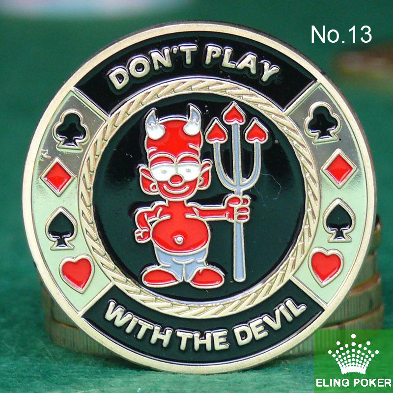 Metal for Pressing Poker Cards Guard Protector No.13  DONT PLAY WITH THE DEVIL  Poker Chips Souvenir Coins