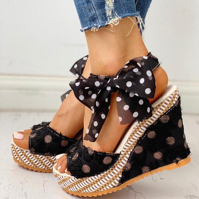 HTB1vS.gXQ5E3KVjSZFCq6zuzXXar Women Sandals Dot Bowknot Design Platform Wedge Female Casual High Increas Shoes Ladies Fashion Ankle Strap Open Toe Sandals
