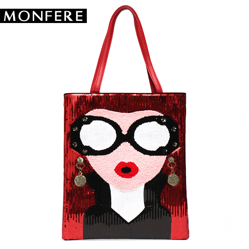 MONFERE Fashion Women Tote Bag Face Printed Sequin Fun Bag Big Pu Casual Shoulder Bags Shopping Bags Spacious Top-handle Handbag