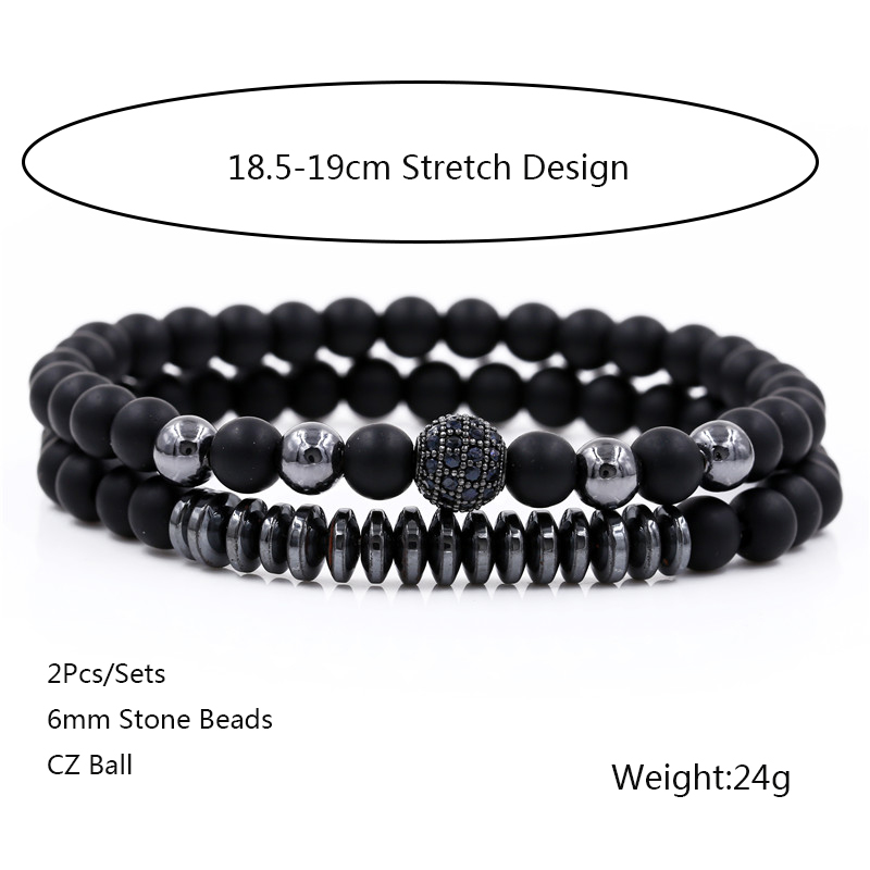 New 3Pc/Sets Micro Pave CZ 8mm Disco Ball & Bar Charms Bracelets Sets 6mm Matte Beads Stone Bracelet Men Women Jewelry bileklik 3