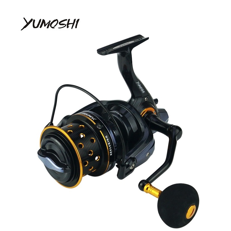 YUMOSHI Fishing Reel TK8000-10000 Metal 14+1BB Spool Jigging Trolling Long Shot Casting Carp Salt Water Surf Spinning Sea 4.1:1