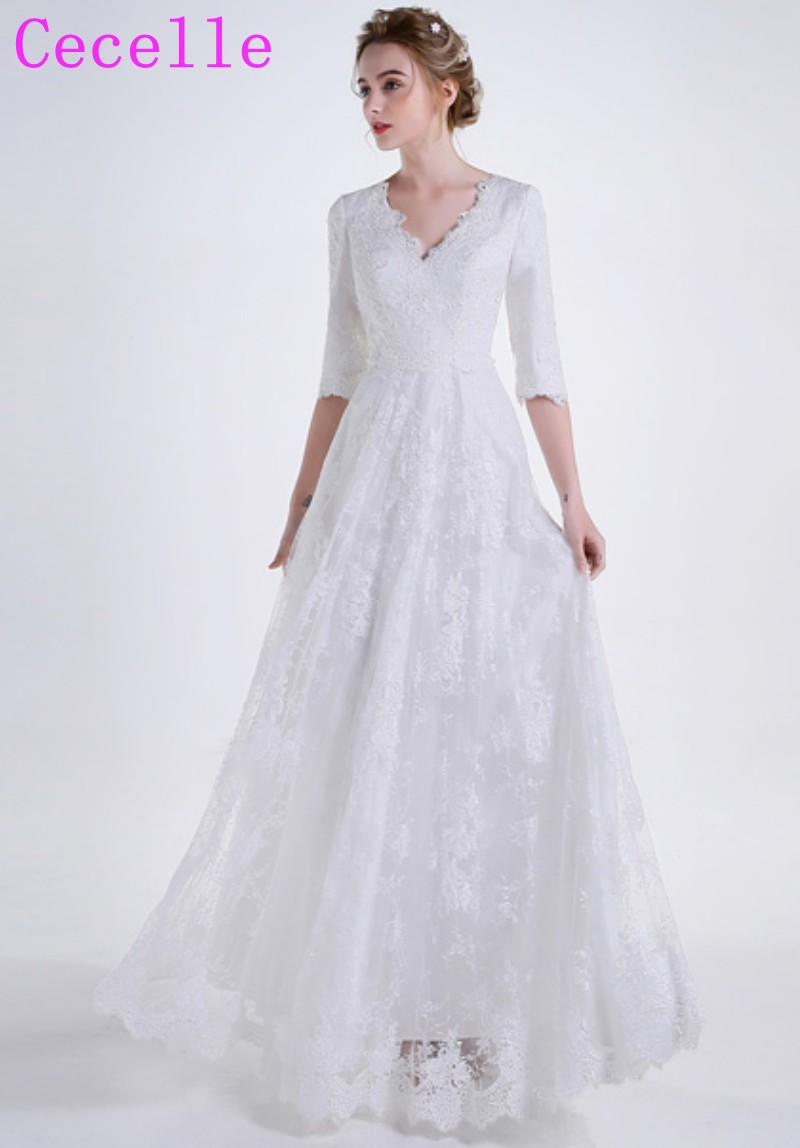 9e10b1742a65b 2019 New Vintage Lace Long Modest Wedding Dresses With Half Sleeves ...