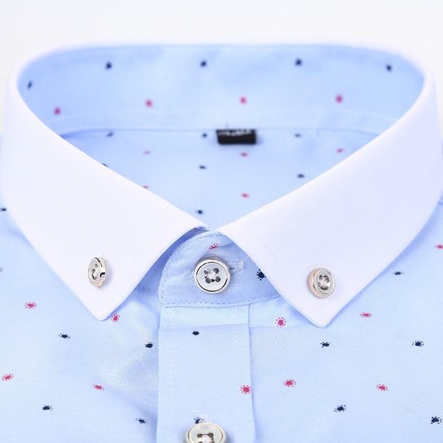 100% Cotton Printed Long Sleeve Dress Shirts 4