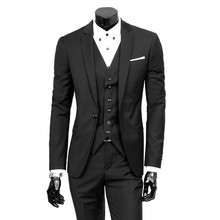 2019 Fashion 3 Pack Slim Fit Black Wine Linen Men Suit Wedding Party Smoking Tuxedo Mens Casual Work Wear Suits Dropshipping(China)