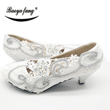 New White Lace-up Womens wedding shoes FASHION Ladies Party dress shoes for woman High heels Pumps free shipping