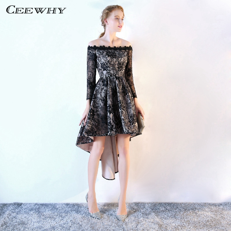 8ac34eb408 CEEWHY Off Shoulder High Low Dress Elegant Short Evening Dress Long Sleeve  Lace Evening Gown Kaftan Abendkleider Vestito Lungo
