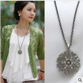 Trendy Bohemia Geometric Round Hollow Decorative Pattern Lily Flower Crystal Dress Choker Necklace Gift Female Pendants