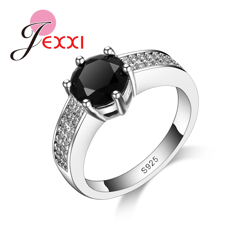 JEXXI High Quality Size 7 8 9 Black Crystal Women Elegant Rings 925 Sterling Silver Bridal Jewelry Ladies Zircon Finger Ring