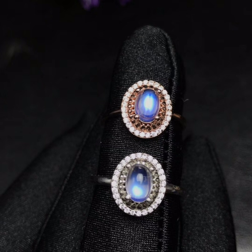 Uloveido Adjustable Rose Gold Color Natural Blue Moonstone Ring Luxurious Style 925 Sterling Silver with Certificate