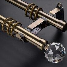 Экологичное покрытие высокое качество двойной 28+ 28 мм/1-1/8-в диаметре двойной металлический карниз+ хрустальный шар finial+ металлические кронштейны
