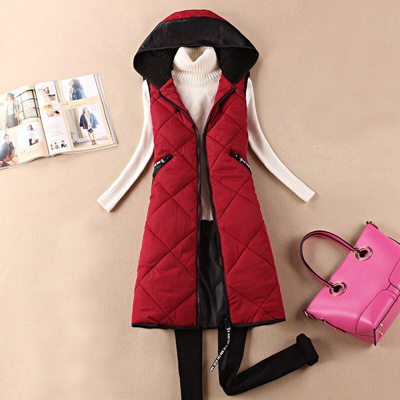Long section thick winter large size vest women jacket Korean Slim stitching cotton padded waistcoat female