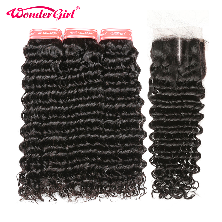 Deep Wave Bundles With Closure Remy Human Hair 3 Bundles With Closure Peruvian Hair Bundles With