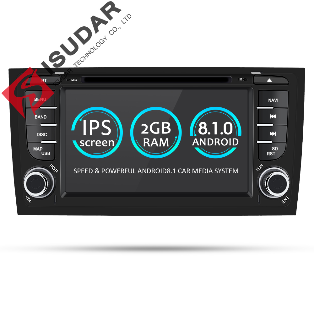 Isudar Car Multimedia Player GPS Two Din Android 8.1.0 DVD Automotivo For Audi/A6/S6/RS6 Radio FM Quad Cores RAM 2GB ROM 16GB isudar car multimedia player automotivo gps autoradio 2 din for skoda octavia fabia rapid yeti superb vw seat car dvd player
