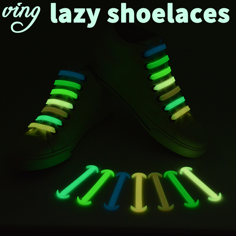 14 Pcs/lot VING New Silicone Unisex Elastic No Tie Shoelaces Sport Sneakers Luminous Strap Lacet Chaussure Ox Horn Shoelaces