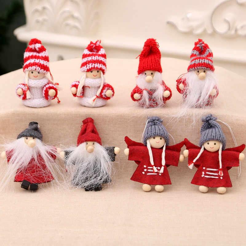 2 шт., Рождественская Милая шерсть, куклы для девочек, декоративная подвеска, шерстяная кукла, Рождественское дерево украшение для дома, новогодние креативные кукольные украшения, подарок для детей