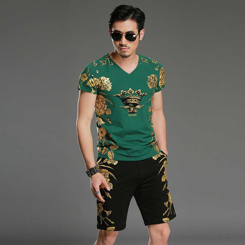 Summer Short Sets Tshirt with Short 2PCS Set Floral Printed Tracksuit Men Casual T Shirt Short SLeeve Sweat Suits Male Clothing in Men 39 s Sets from Men 39 s Clothing