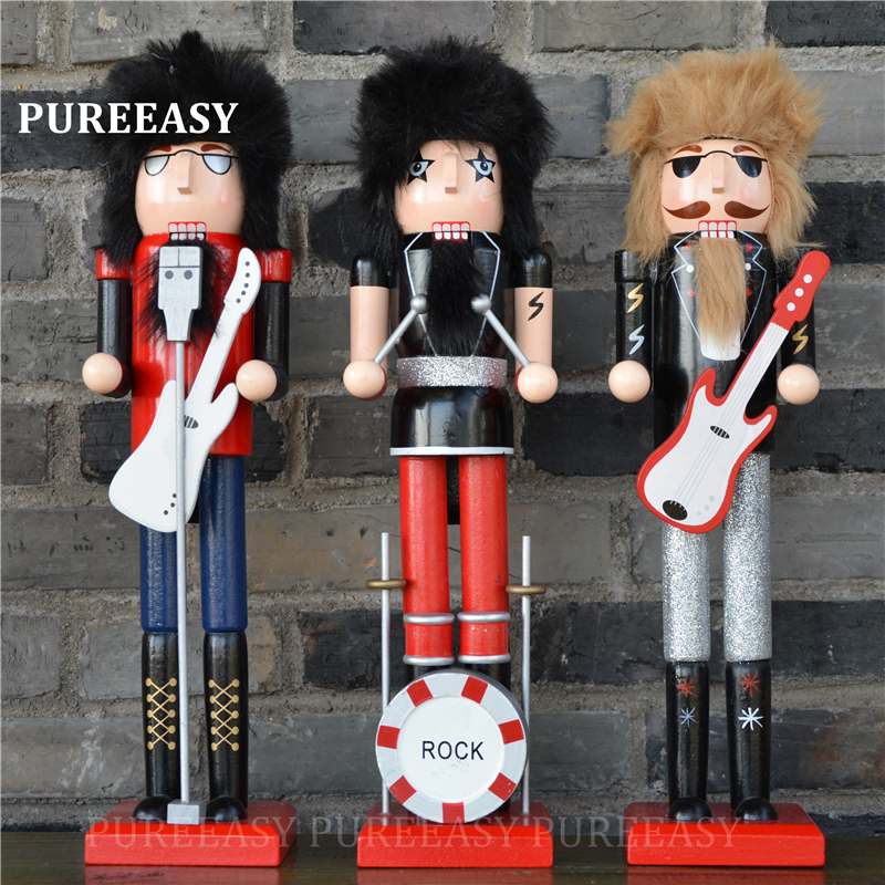 38CM Nutcrackers colletction Christmas home wood decoration Singers Figurines ornaments Puppet
