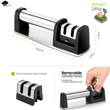 Professional 2 Stages Kitchen Knife Sharpener Sharpening Kitchen Tools Knives Grinder Householder Blade Sharpening Sharpener 07 kme knife sharpener professional sharpening knife portable 360 degree rotation fixed angle apex edge knife sharpener with stones