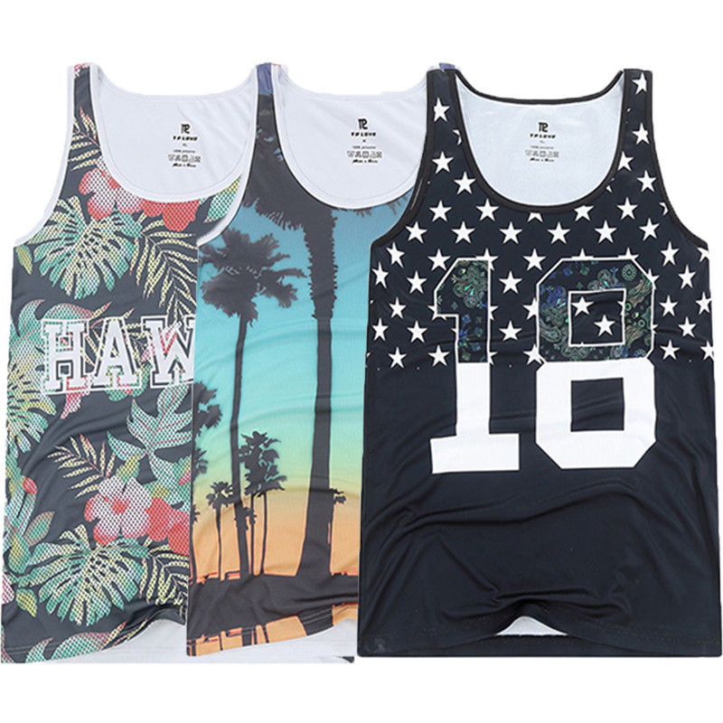 Men's Basic Beach Oversized Landscape   Tank     Top   Sleeveless Vest Casual Men Beach   Tank     tops