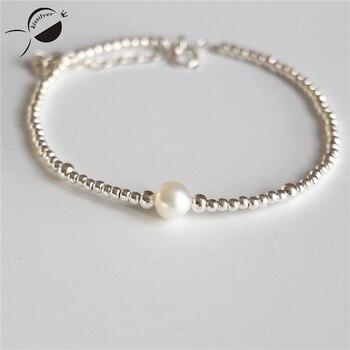 f1746872f5cf S925 pulseras de plata esterlina mujeres perlas Cuentas nearround cadena  brazalete de joyería pulseras de plata y Brazaletes femenino