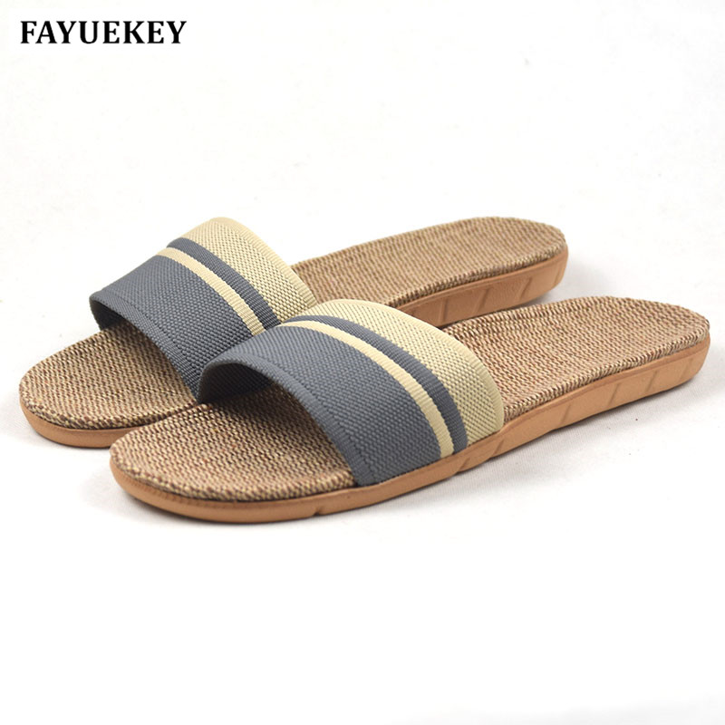 FAYUEKEY Fashion Summer Home Linen Non-slip Breathable Slippers Men Indoor\Floor Beach Boys Open-Toed Slippers Shoes coolsa men s summer non slip striped canvas linen slippers men s indoor bathroom flax slippers men s breathable fashion slides