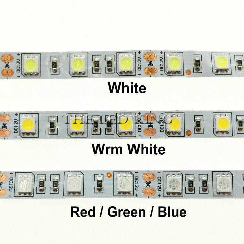 1 м 2 м 3 м 4 м 5 м 300 светодиодов водонепроницаемый RGB светодиодные полосы света 5050 DC12V 60leds/M Fiexble свет лента-тесьма со светодиодами украшения дома лампа