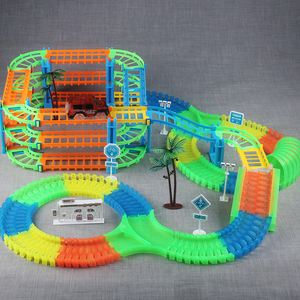 Image 4 - Connect 2 Type Railway Magical Racing Track Play Set DIY Bend Flexible Race Track Electronic Flash Light Car Toys For Children
