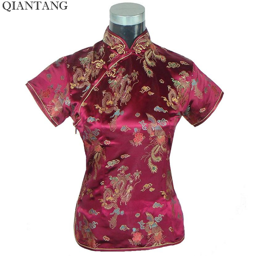 Hot Sale Burgundy Traditional Chinese style Shirt Tops Summer Women'S Satin Short sleeve Blouse Size S M L XL XXL A0021