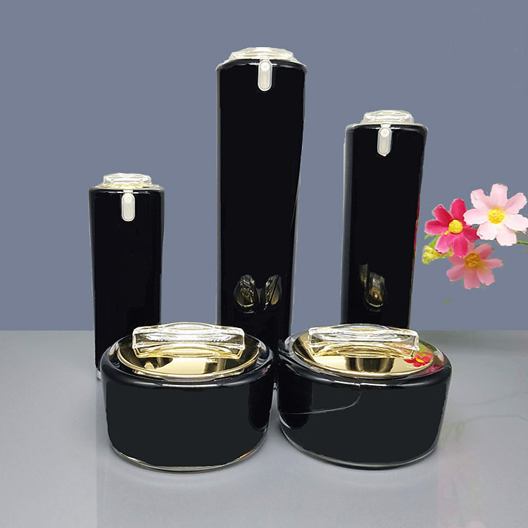 10pcs/lot 15/30/50g Black Gold Cream Cosmetic Jar Pot 30/50/100ml Acrylic Lotion Pump Bottle DIY Refillable Container Travel Set high quality black acrylic cream jar gold cap empty cosmetic bottle container jar lotion pump bottle 30g 50g 30ml 50ml 120ml