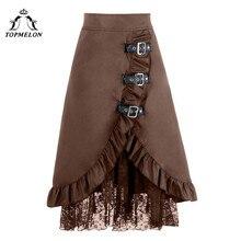 TOPMELON Готический юбка линия женский юбка Для женщин длинные стимпанк юбка Винтаж расщепляется кружева показывает клуб танец корсет юбки