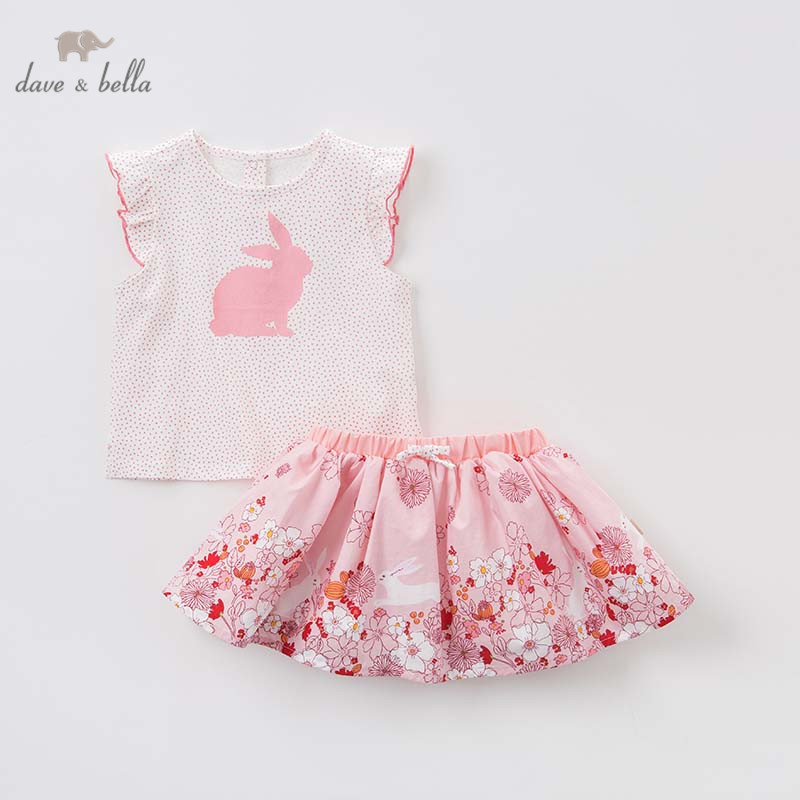 Dave bella summer baby clothing sets children tops skirt 2pcs suits toddler infant outfit kids lovely