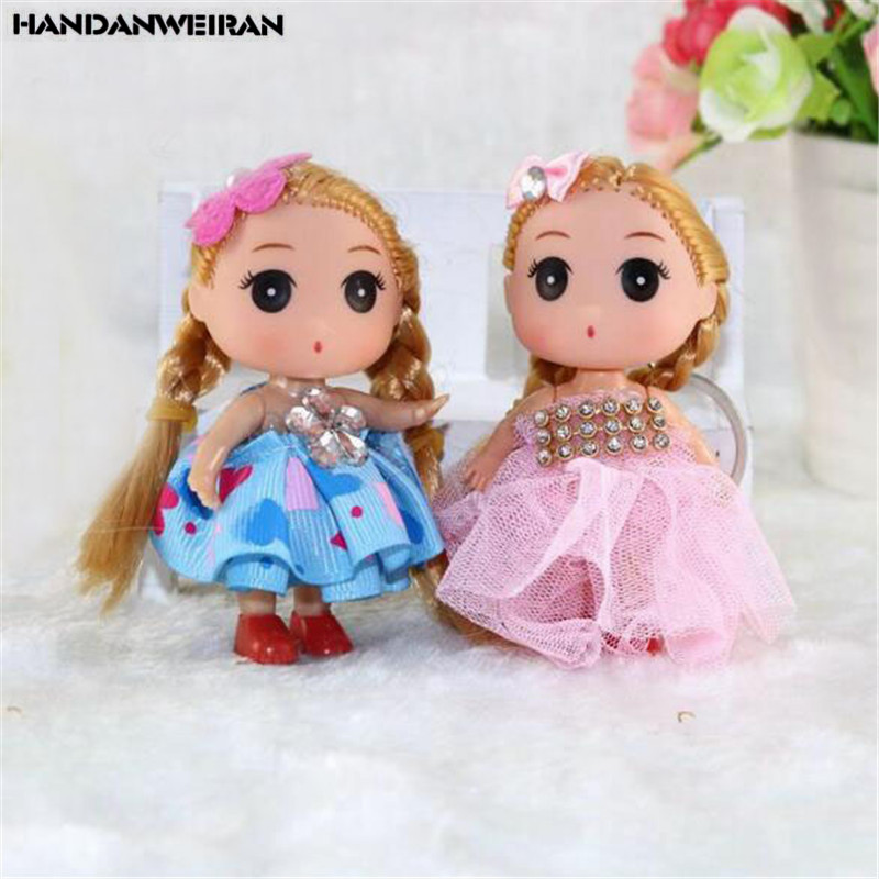 2PCS Cute Confused Doll Toy Small Pendant Wedding Dress Dolls Toys For Kids Valentine Gifts Unisex Wholesale Hot 9CM