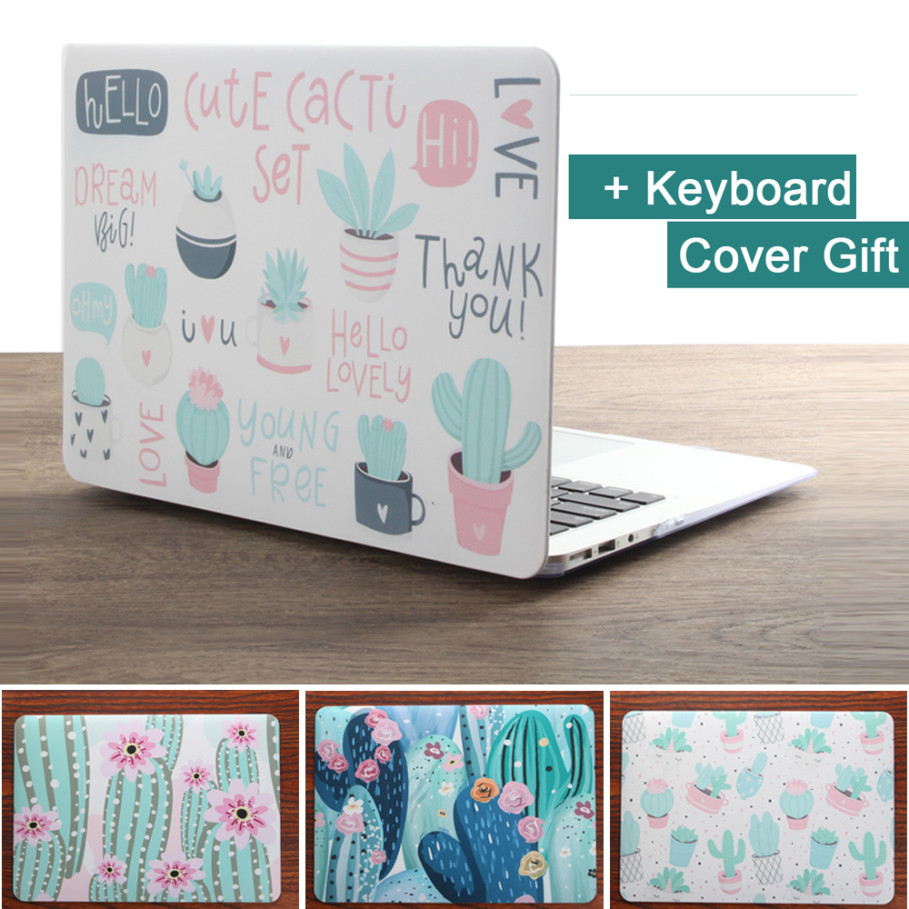 New Print Succulent Plants Laptop Case For MacBook Air Pro Retina 11 12 13 15 Inch With Touch Bar + Keyboard Cover