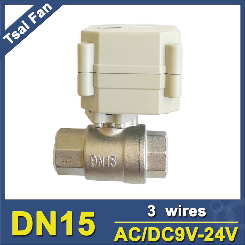 AC DC9 24V 3 Wires DN15 Motorized Ball Valve TF15 S2 C 2 Way Automated Valve