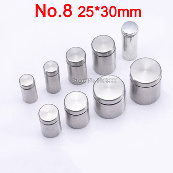 Top Designed 50PCS 25*30mm Stainless Steel Advertisement Nails Screws Hollow Mirror Glass Fixing Screws Standoffs Pin Nails