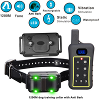 Trainertec 10 levels of static stimulation 1200 Meters Remote Dog Training Collar with Auto Anti Bark