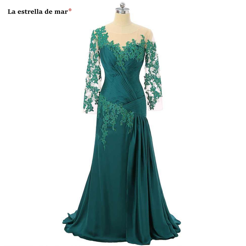 Vestido De Madrinha New Lace Half Sleeve Purple Blue Green Sexy Mermaid Mother Of The Bride Dresses Long Wedding Party Dress Rea