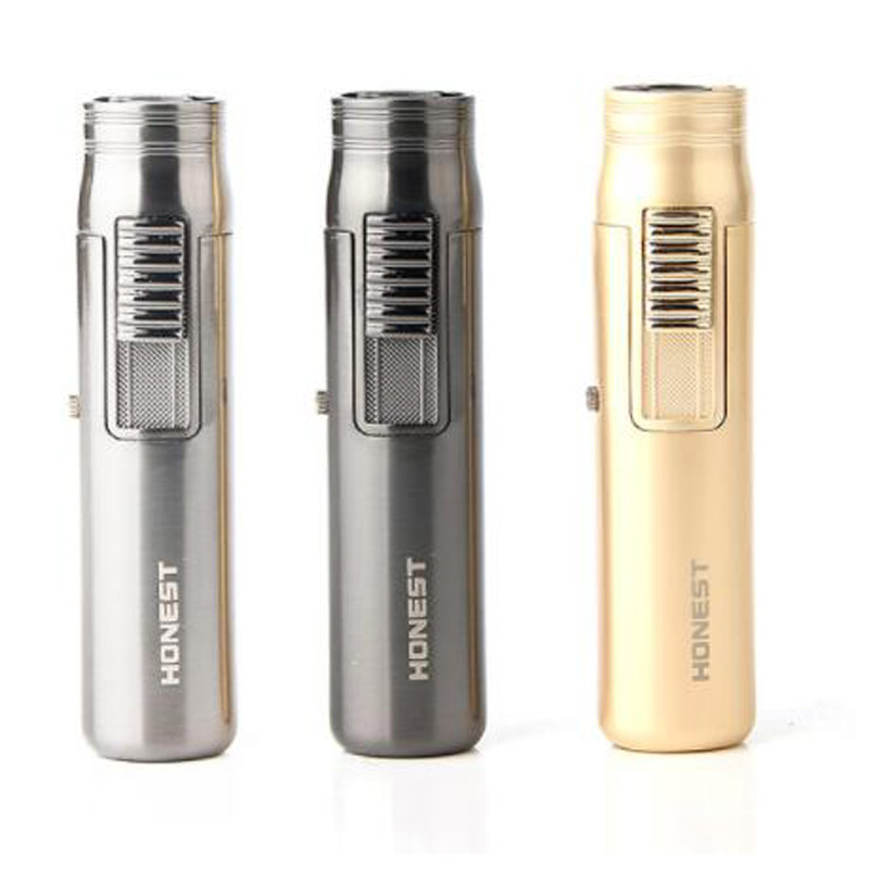1pcs Honest Mini Pocket Windproof Cigar Tobacco Lighter Jet Torch Flame Refillable Butane Gas Ajustable Straight Flame Torch