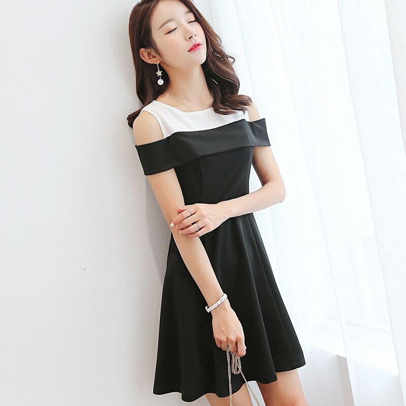 Summer Dress Women clothes Short Sleeve Hollow Out Patchwork Dress Casual Dresses Slash Neck Korean Cute student dress Vestidos