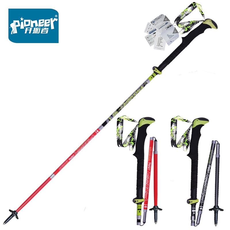 1 Pair Folding Nordic Walking Poles Carbon Fiber Adjustable Trekking Stick Alpenstock Telescopic Ski Poles Climb