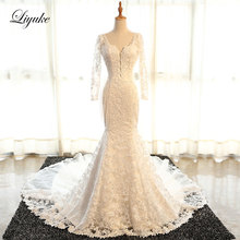 Liyuke Mermaid Wedding Dresses Full Sleeves Bride Dresses