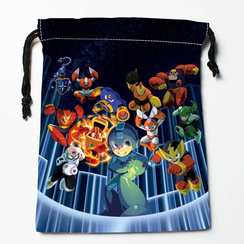 Mega Man Drawstring Bags Custom Storage Bags Printed Gift Bags More Size 27x35cm DIY Your Picture Custom Drawstring Bag