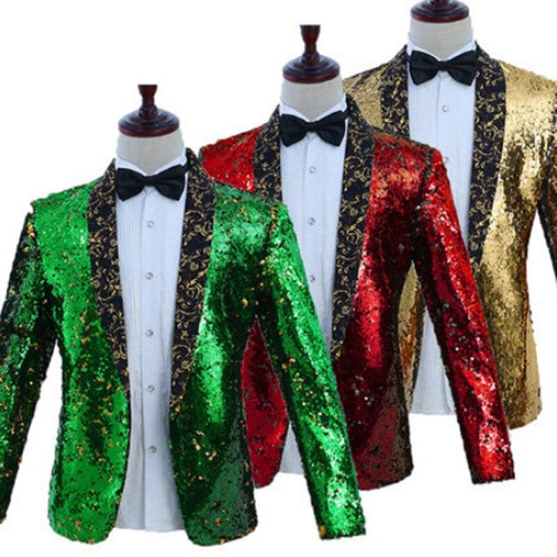 Paillette style occidental vêtements sans chemise pour hommes à manches longues paillette costumes veste formelle pour toastmaster magicien manteau