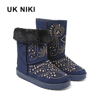 UKNIKI Women Boots Female Winter Boots Fashion Flat With Short Plush Slip On Ladies Basic Solid