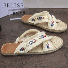 BELISS bling women summer flat beach slippers peep toe comfortable female slides slipper hemp casual shoes for woman outside S20