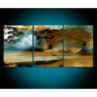 3 Panel Canvas Art Abstract Ocean Landscape Oil Painting Modern Home Decor Wall Pictures Hand Painted Acrylic Paintings Oils
